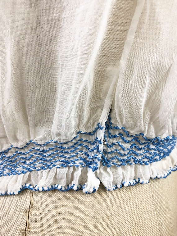 Vintage 40s Hungarian Embroidered Gauze Blouse Ka… - image 7