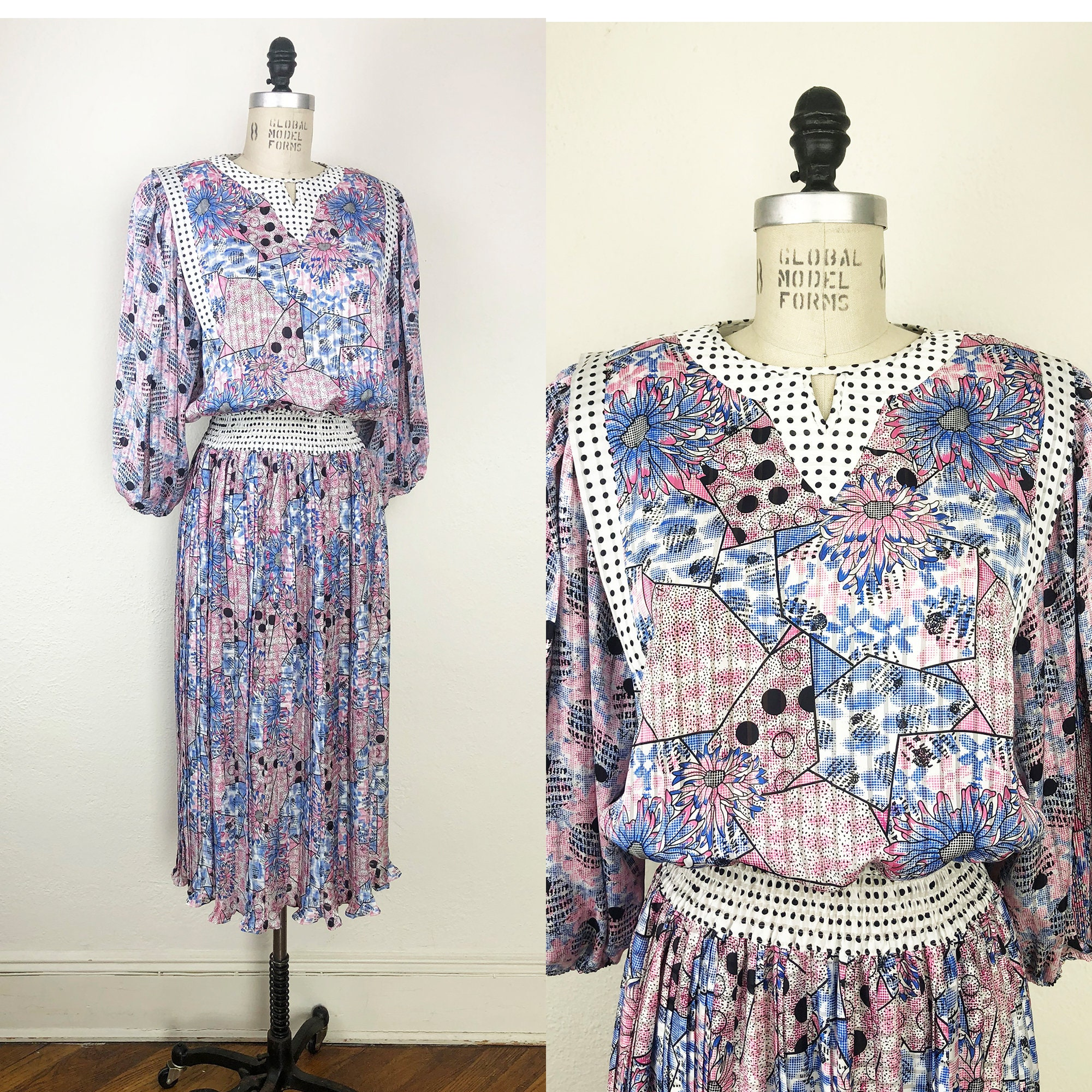 80s Dresses | Casual to Party Dresses Vintage 1980S Pop Art Patchwork Polka Dot Ruffle Dress By Diane Freis Graphic M $78.00 AT vintagedancer.com