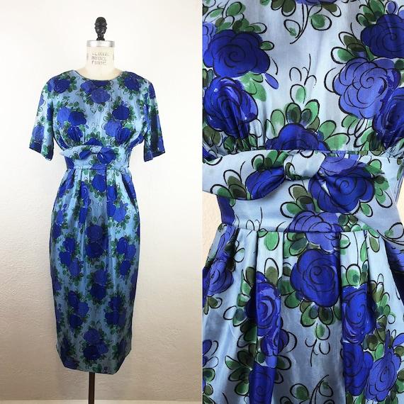 Vintage 50s/ Early 60s Suzy Perette Blue Silk Flor