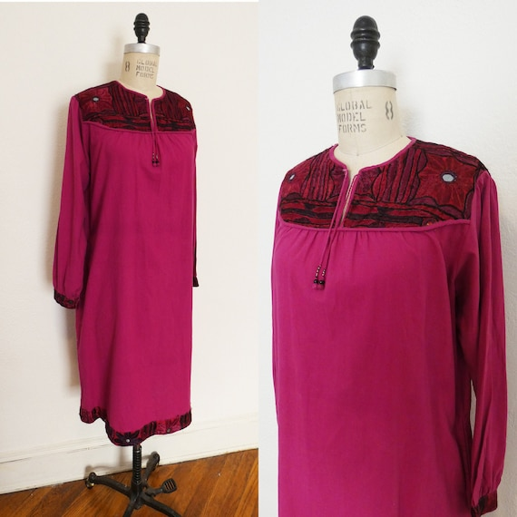 Vintage 70s Magenta Indian Cotton Dress with Embro