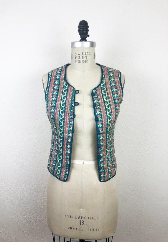 Vintage 70s Anokhi Block Printed Indian Cotton Qui