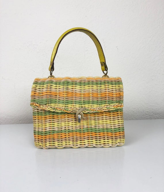 Vintage 60s Wicker Satchel Top Handle Handbag Yell
