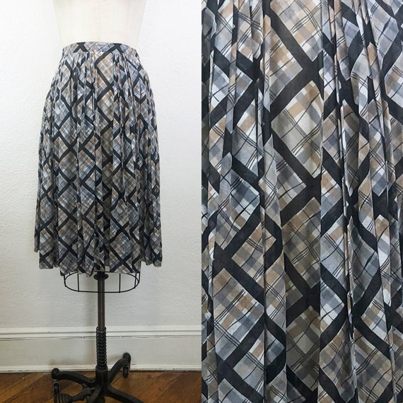 Vintage 50s Plaid Cotton Voile Skirt Black Multi N