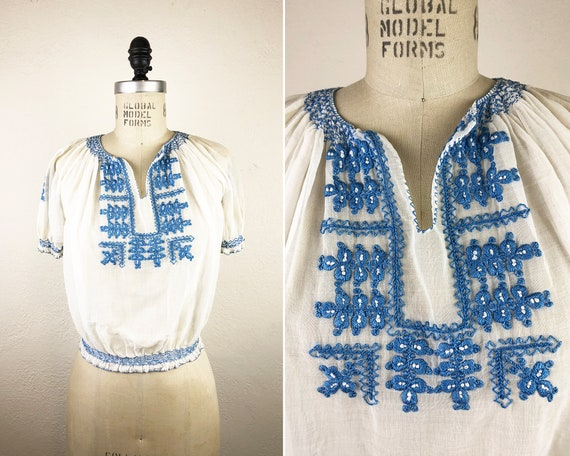 Vintage 40s Hungarian Embroidered Gauze Blouse Ka… - image 1