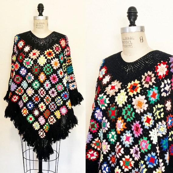 Vintage 70s Crochet Granny Square Poncho Cozy and