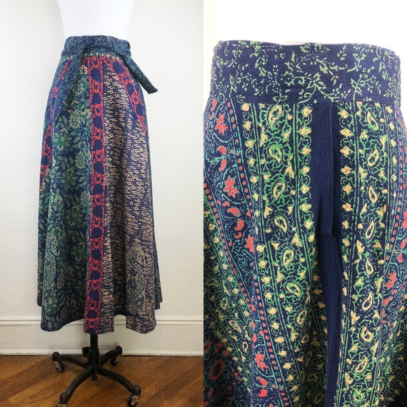 Vintage 70s Indian Cotton Maxi Skirt Block Print N
