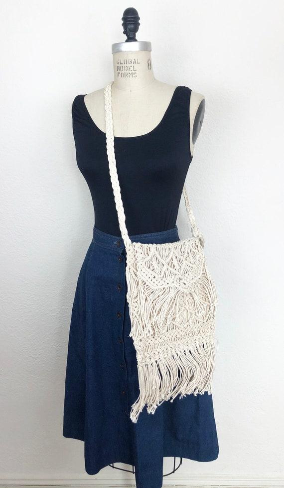 Vintage 70s White Macrame Shoulder Bag Crossbody H