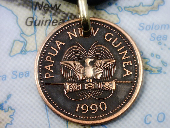 Papua Neuguinea Paradiesvogel Münze Anhänger Aus Echtem Etsy