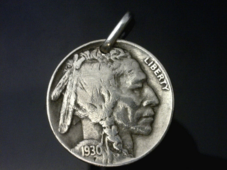 - Free Velvet Pouch - United States Choose Length Indian Head Nickel Real Leather Necklace wClasp - - Genuine Coin Pendant 1-A1