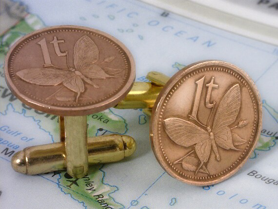 Free Velvet Pouch BUTTERFLY COIN Tie Tac  Lapel Pin Papua New Guinea Unique Gift - 1 Toea - 1-c6