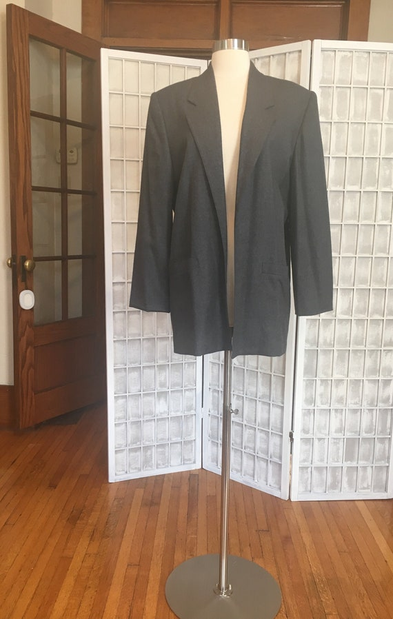 1980s Oversized Gray Wool Blazer