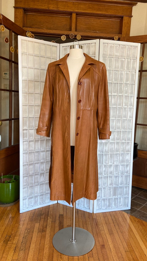 1970s Butter-Soft Brown Leather Trench Coat - image 4