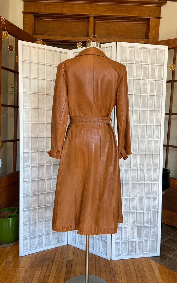 1970s Butter-Soft Brown Leather Trench Coat - image 3