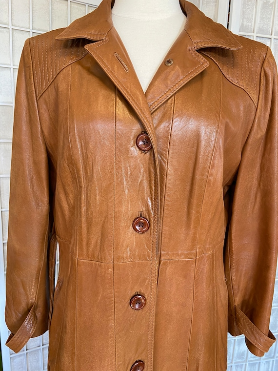 1970s Butter-Soft Brown Leather Trench Coat - image 6