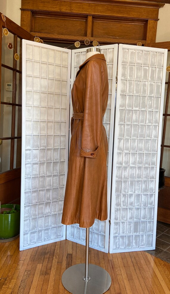 1970s Butter-Soft Brown Leather Trench Coat - image 2