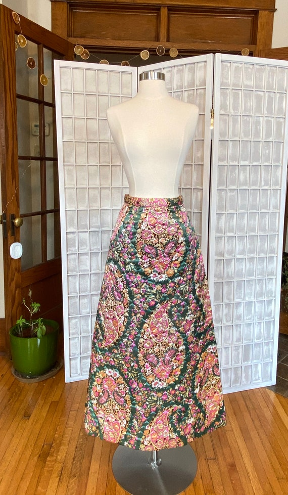 1960s Quilted Mod Floral Maxi Skirt