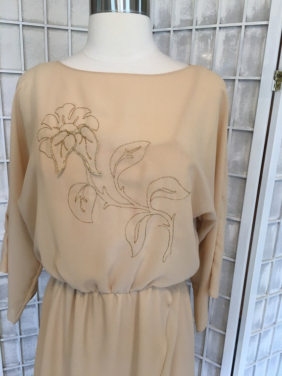 1970s Embroidered Disco Maxi Dress - image 2