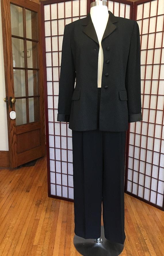1980s Albert Nipon Women's Tuxedo Suit - image 2