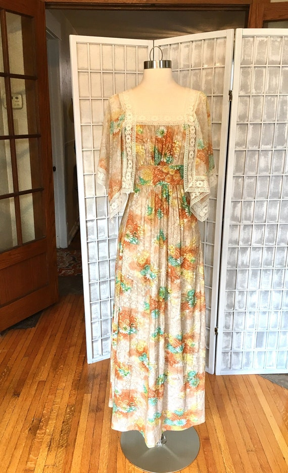 1970s Lace Flutter Sleeve Maxi Dress