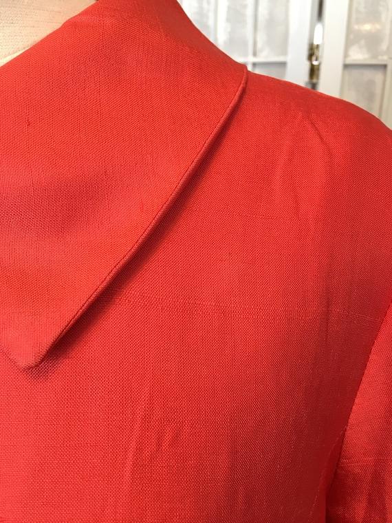 1940s Red Silk Shantung Shirt Sleeve Jacket - image 9