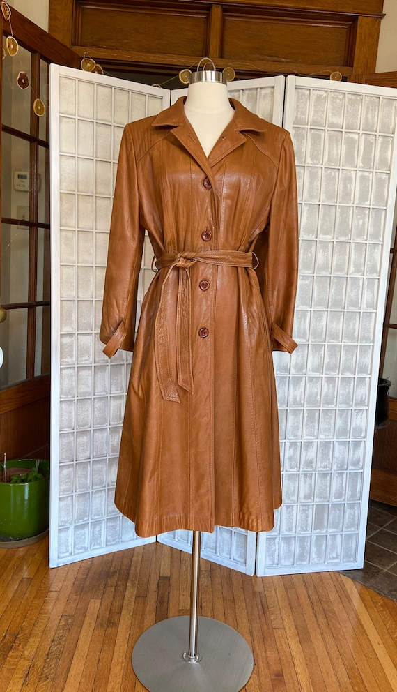 1970s Butter-Soft Brown Leather Trench Coat