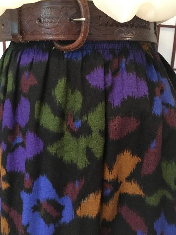 1980s Black Floral Midi Skirt