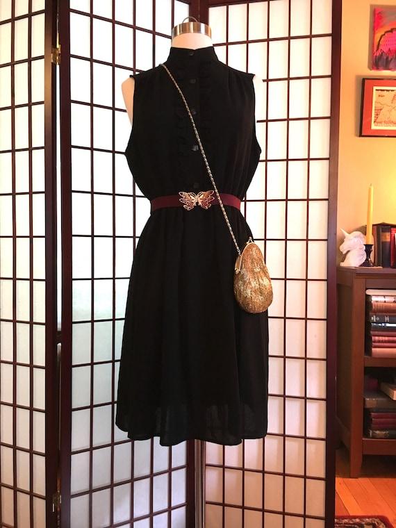 1960s Black Crepe Dress with Ruffles