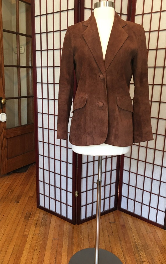 1970s Brown Suede Leather Blazer