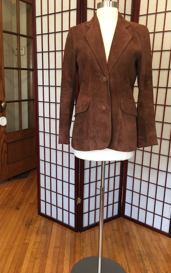 1970s Brown Suede Leather Blazer - image 1