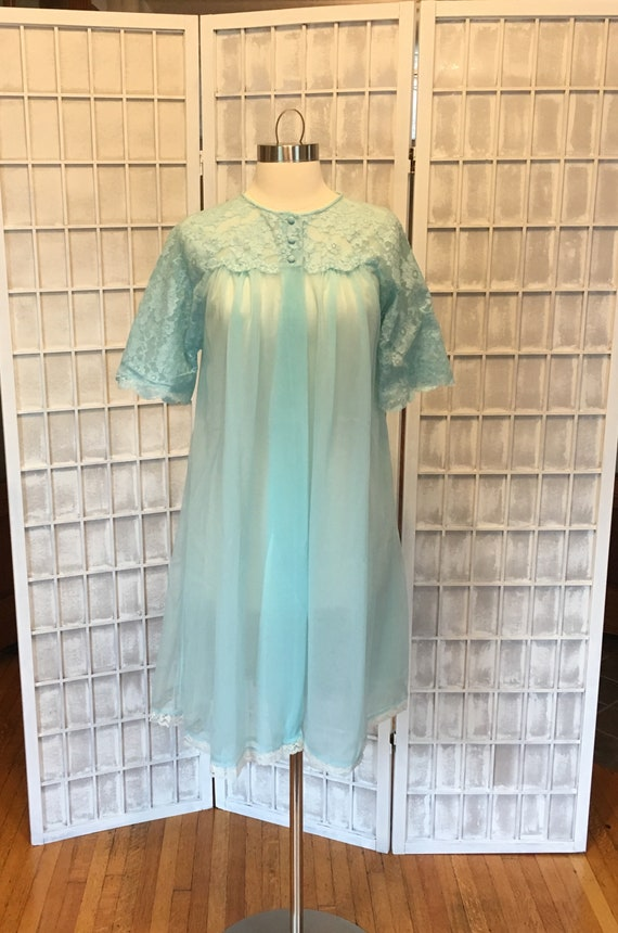 1960s Aqua Blue Lace Chiffon Peignoir