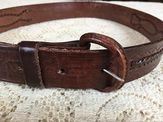 1960s Tooled Leather Scorpion Belt - image 1
