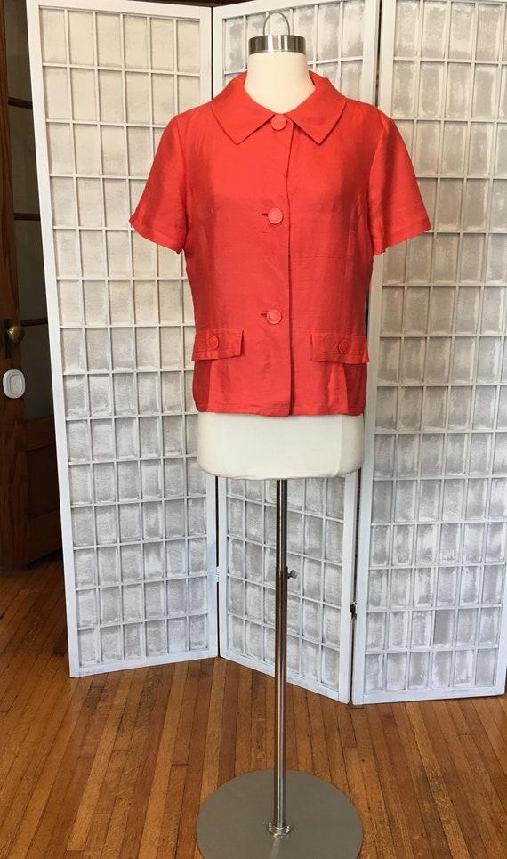 1940s Red Silk Shantung Shirt Sleeve Jacket