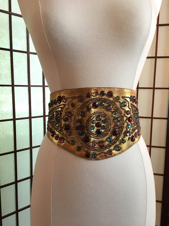 1920s Wide Gold Embellished Belt