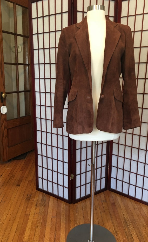 1970s Brown Suede Leather Blazer - image 2