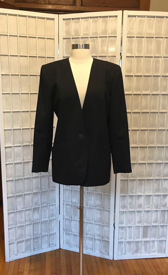 1980s Black Structured Blazer