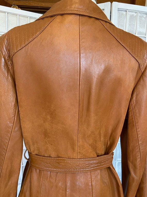 1970s Butter-Soft Brown Leather Trench Coat - image 7