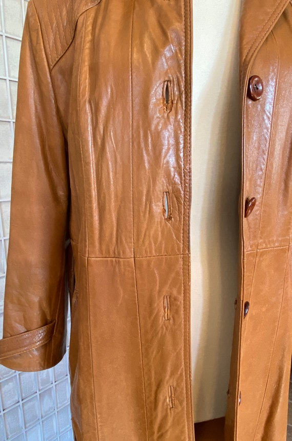1970s Butter-Soft Brown Leather Trench Coat - image 5