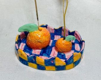 Mandarina Sculptural Handmade Ceramic Incense + Flower holder, handmade ceramic incense holder, ceramic flower holder