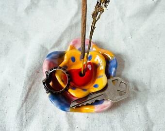 Flowery Handmade Ceramic Incense + Flower holder, handmade ceramic incense holder, ceramic flower holder