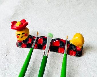 Yas Man Ceramic Brush Holder, Handmade brush holder, ceramic brush holder