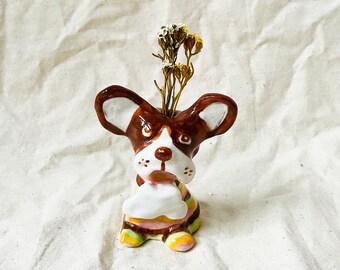 Moose Pup Sculptural Handmade Ceramic Incense + Flower holder, handmade ceramic incense holder, ceramic flower holder
