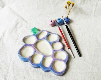 Grapey Ceramic Palette Set, Art palette, Painting palette, Handmade palette, Artist palette