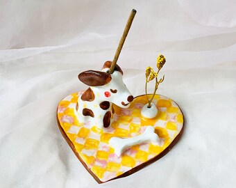 Happy Solo Dog Ceramic Handmade - Handbuilt Incense + Flower Holder
