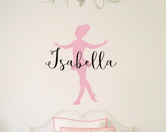 Personalized Ballerina Decal - Little Ballerina with Custom Name Decal - Girl Bedroom Decor - Dancing Wall Art - Ballet Sticker