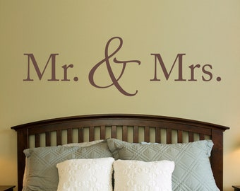 Mr. & Mrs. Wall Decal - Married Decal - Couple Bedroom Decor
