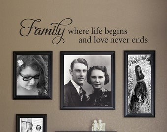 Family where life begins and love never ends Wall Decal - Picture Wall - Family Decal - Living Room Decor - Ver. 2
