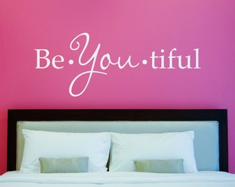 BeYoutiful Decal - Beautiful Wall Sticker - Wall Decals for Girls - Bedroom Wall Art