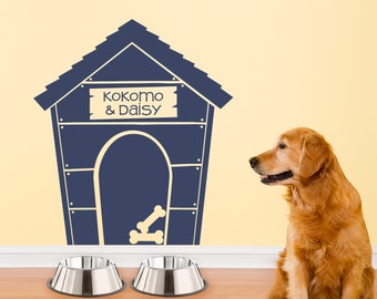 Doghouse Decal with names - Dog House Wall Sticker - Pet Gift