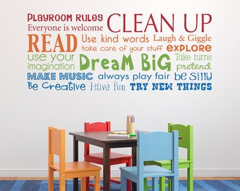 Playroom Rules Decal   Have Fun   Read   Dream Big   Make Music   Multiple  Color Version   Horizontal Large