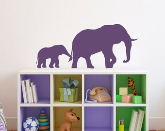 Elephant and baby Wall Decal - Elephant Wall Sticker - Baby Decor